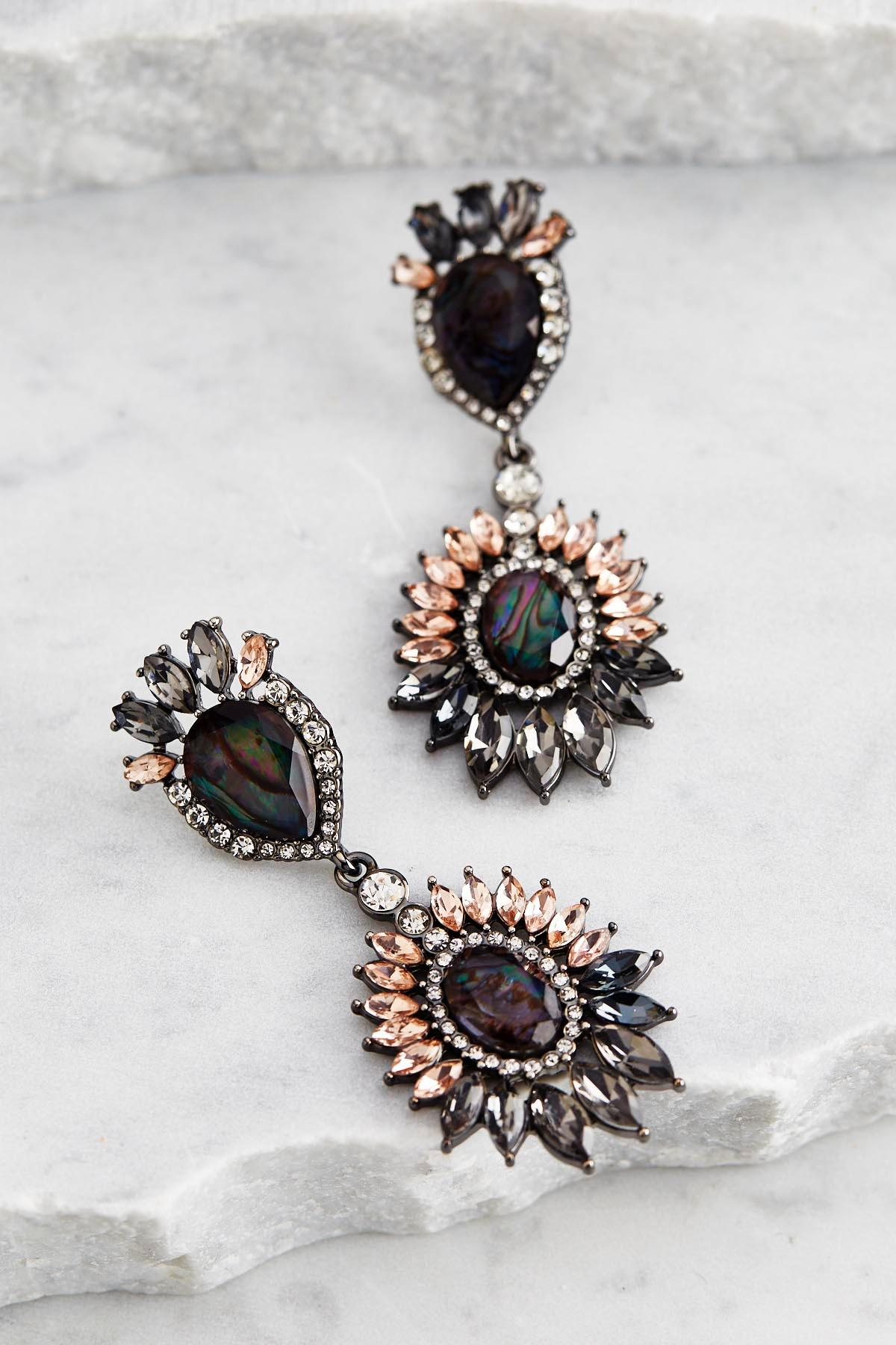 Glass Stone Flower Statement Earrings