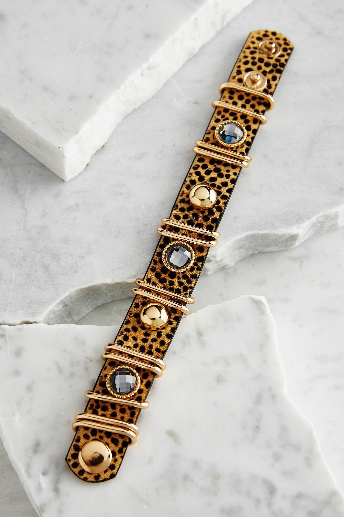 Cheetah Hair Embellished Bracelet