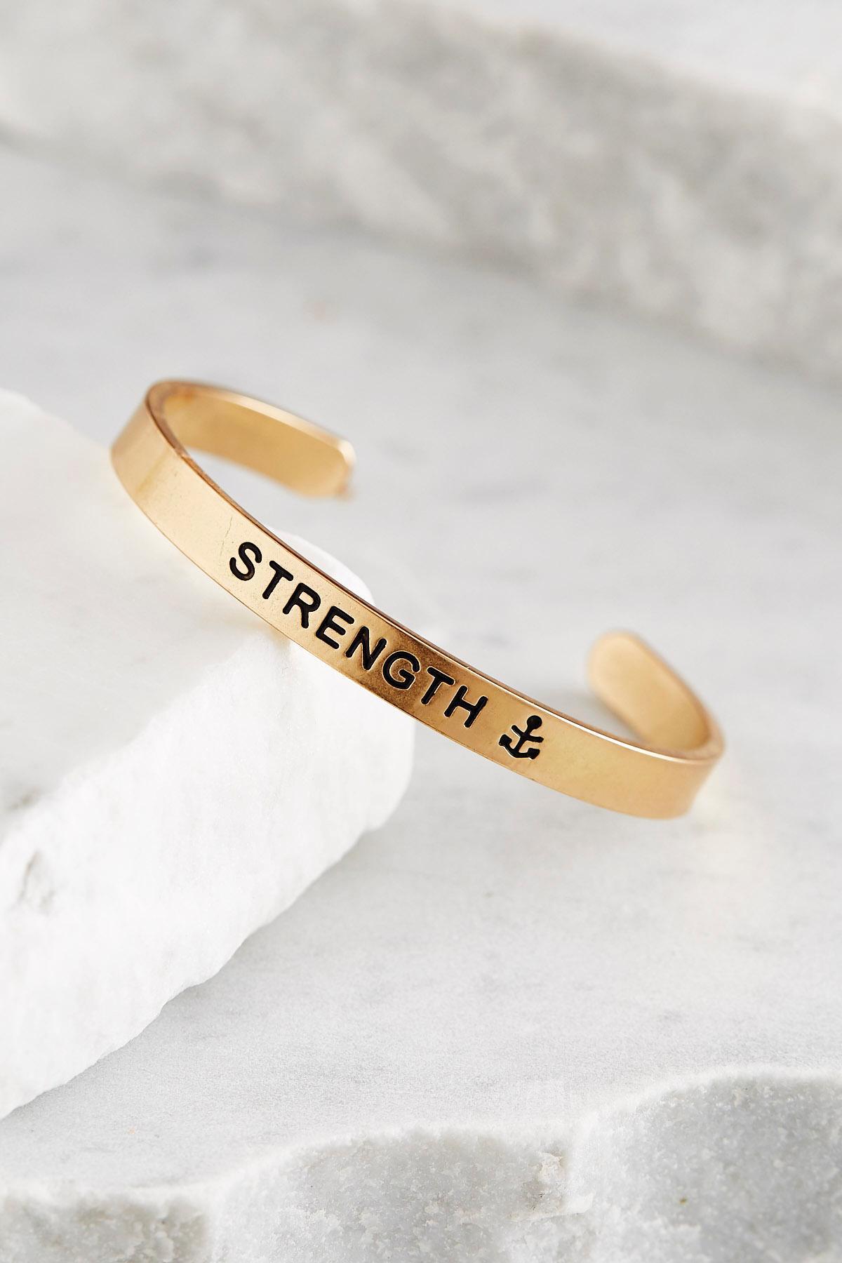 Strength Brass Cuff Bracelet