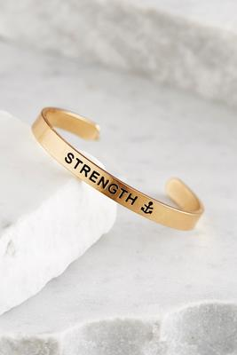 strength brass cuff bracelet