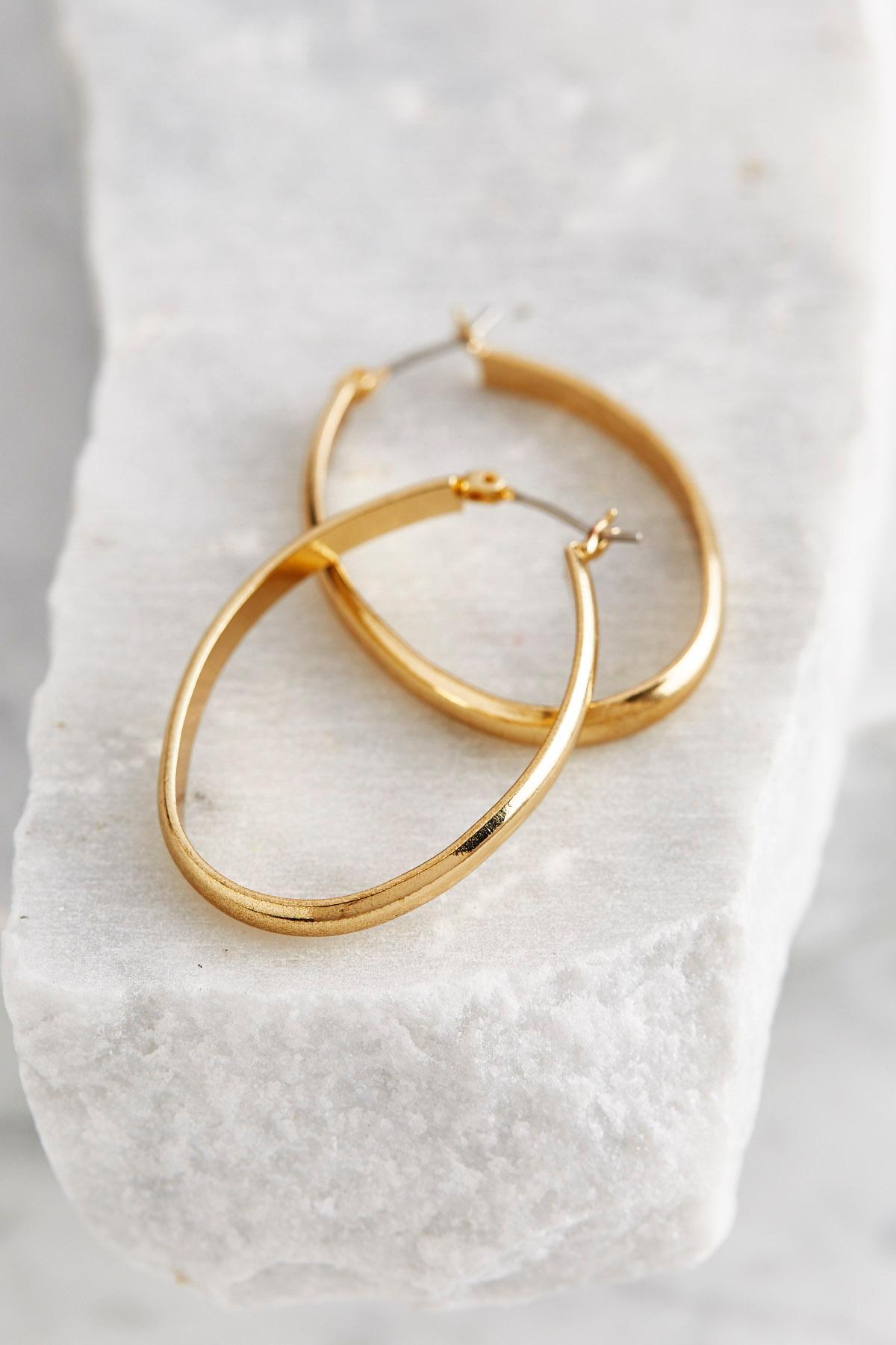 Thick Oval Hoop Earrings