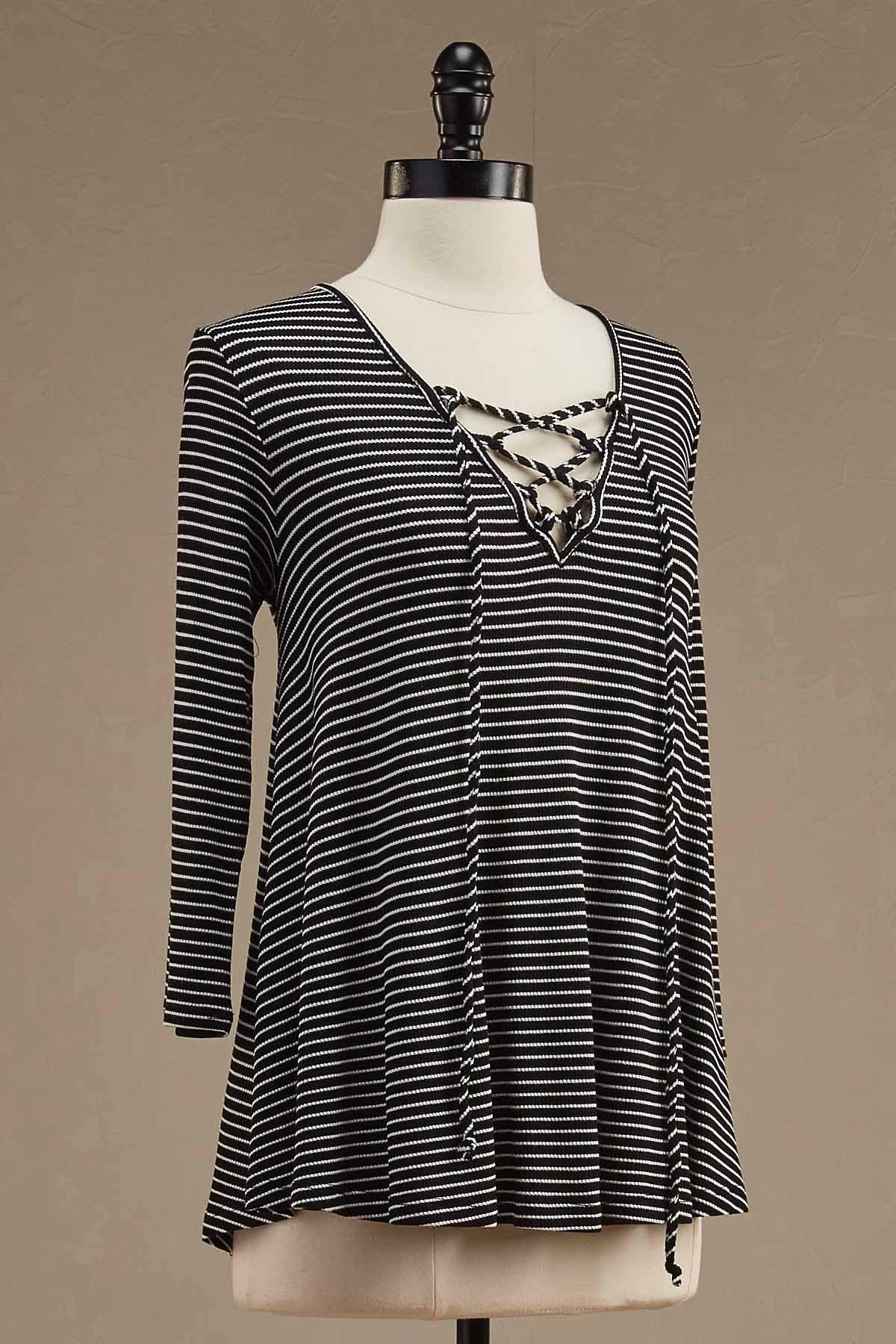 Lace Up Neck Striped Tunic