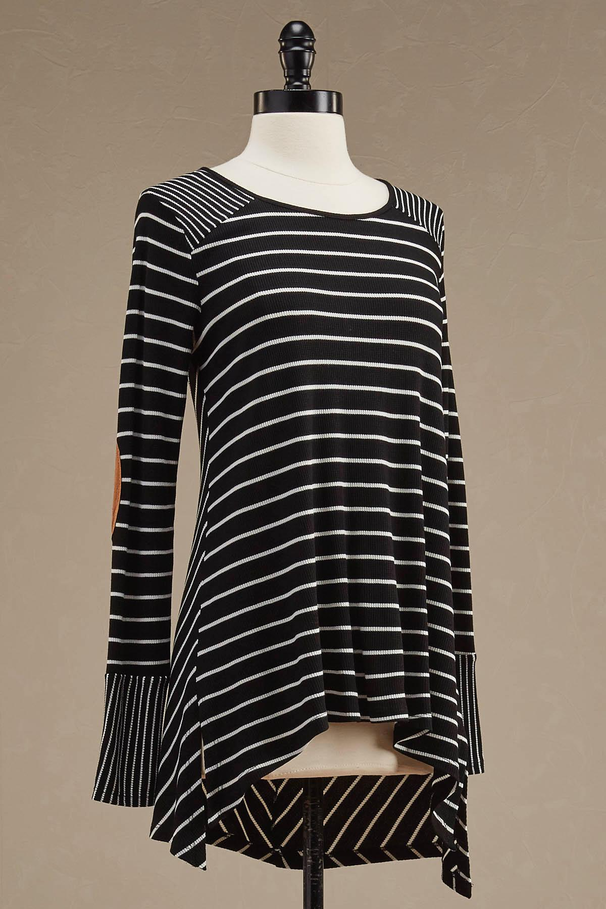 Striped Elbow Patch Swing Top