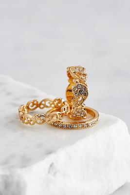 pave filigree ring set
