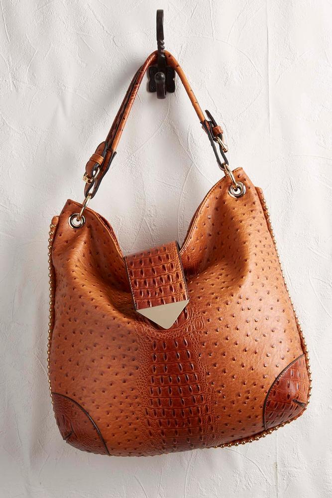 Studded Ostrich Hobo Bag