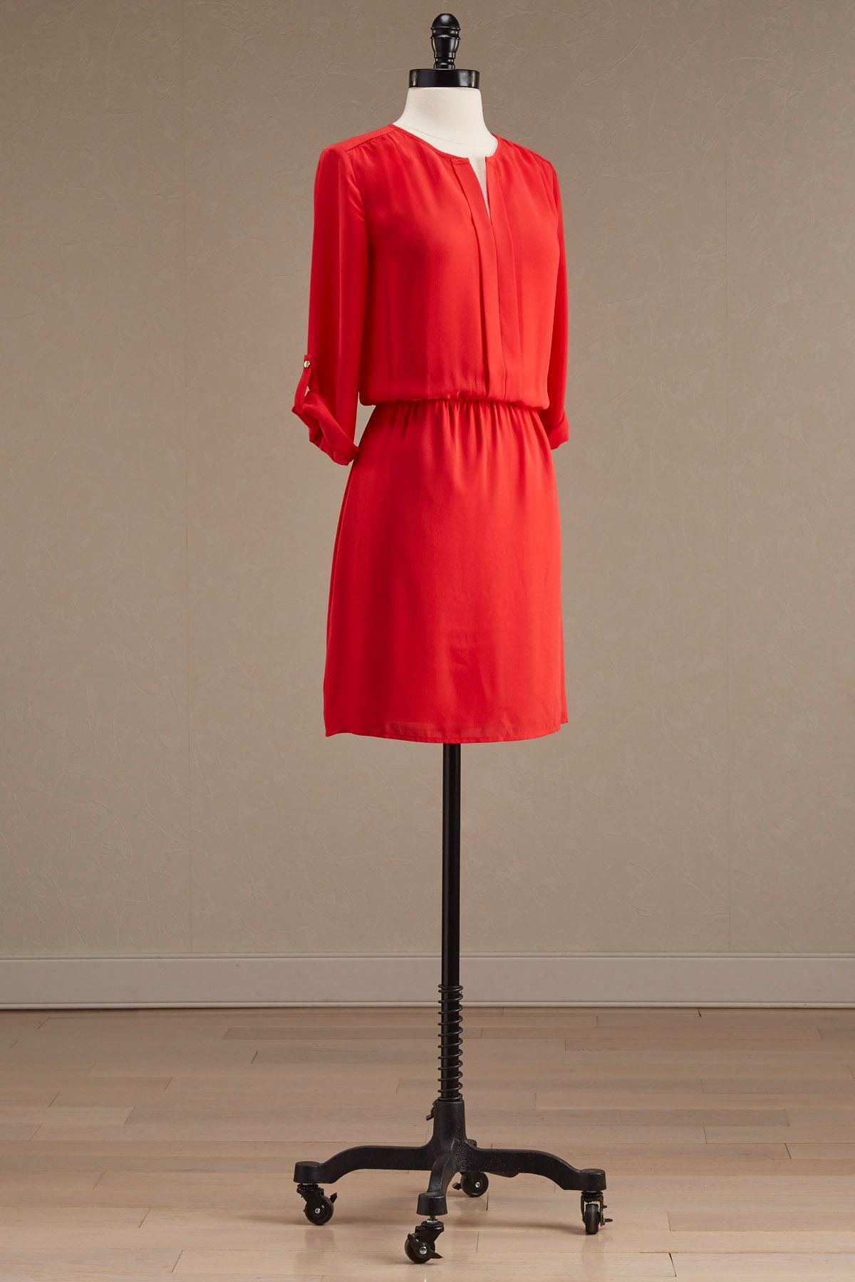 Pleat Split Neck Blouson Dress