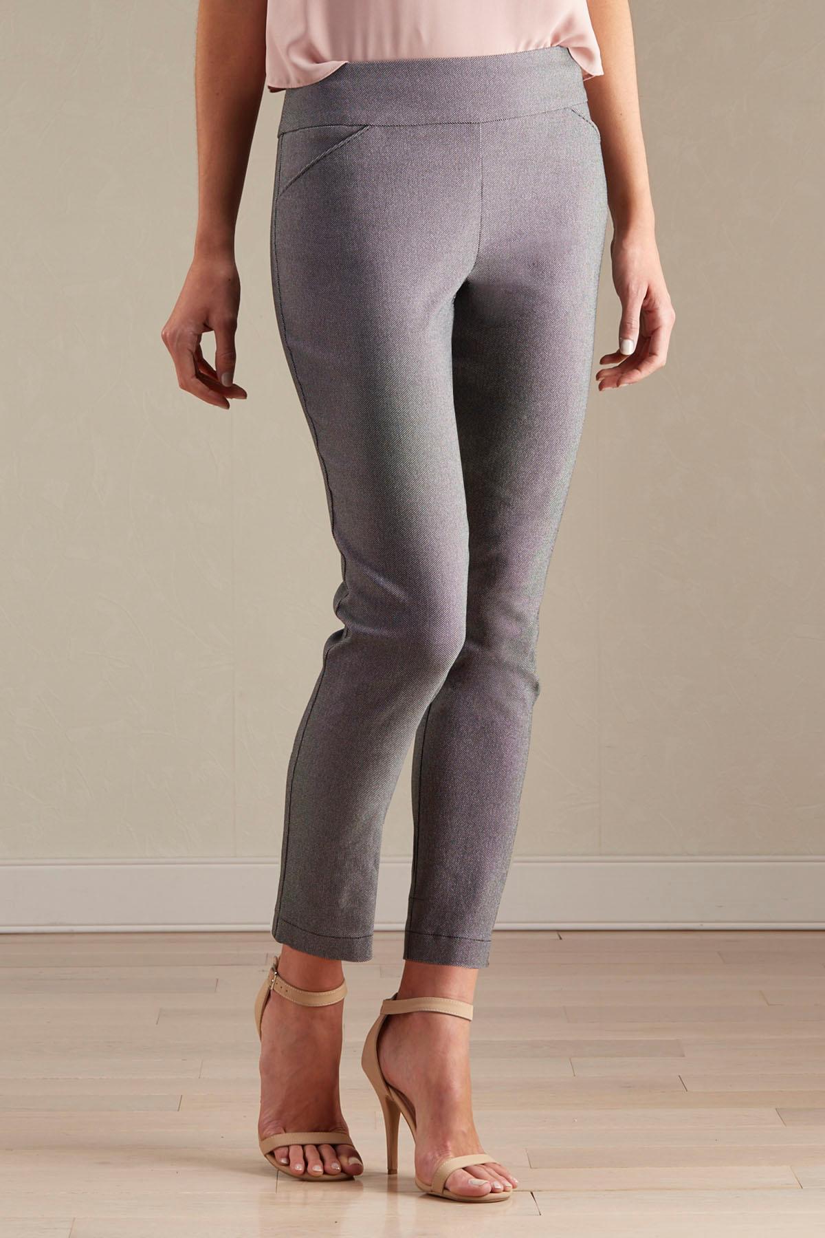 Woven Dot Slim Leg Ankle Pants