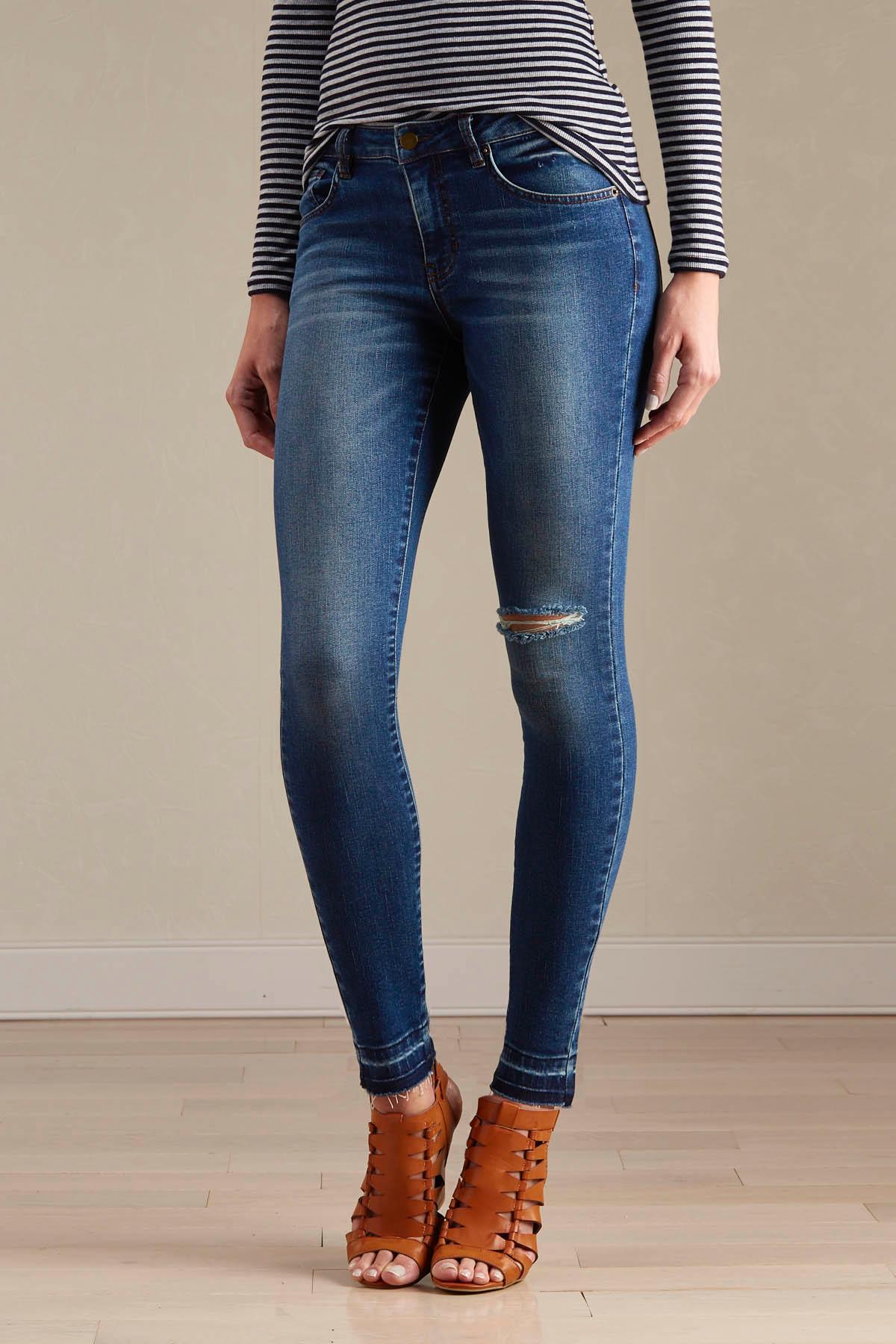 Knee Slit Release Hem Skinny Jeans