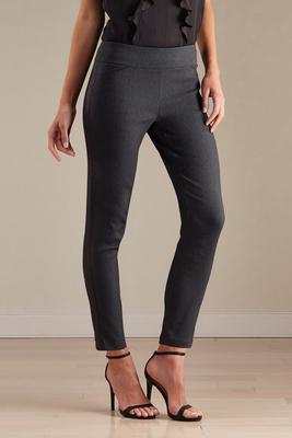 herringbone slim leg ankle pants