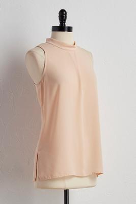 pleated mock neck tank