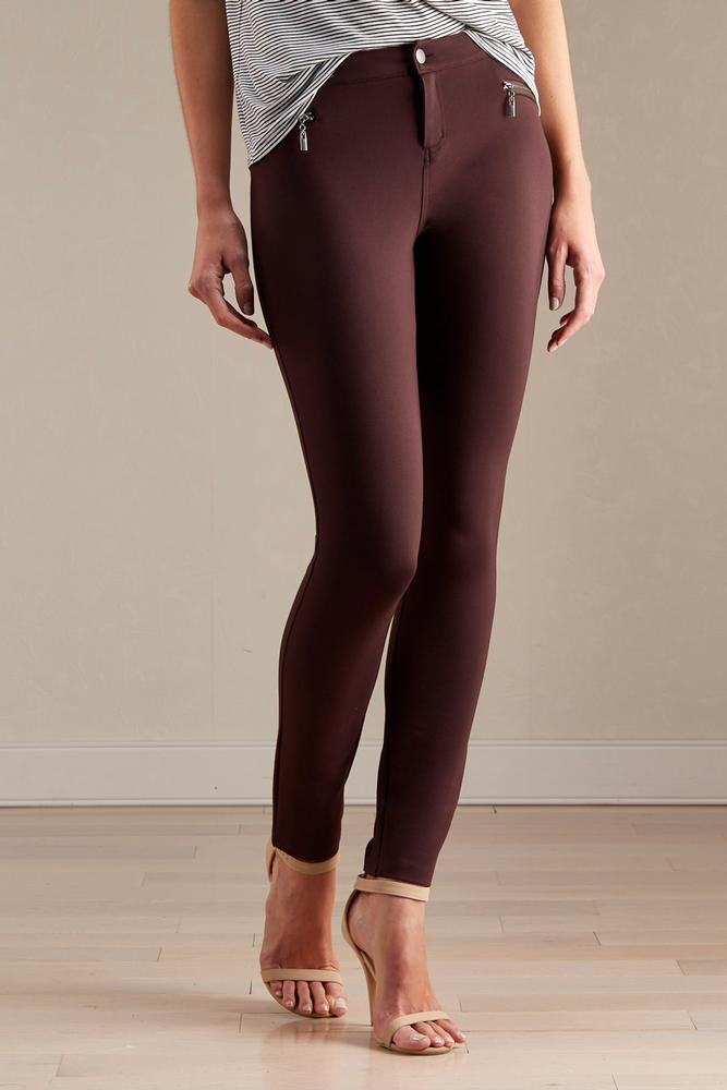 Exposed Zipper Ponte Skinny Pants