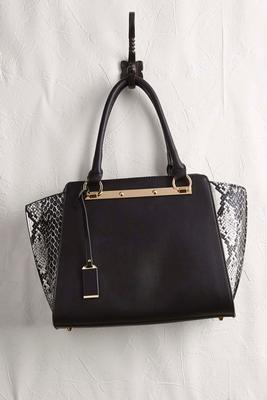 snakeskin side gusset satchel