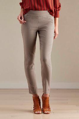 houndstooth slim leg pants