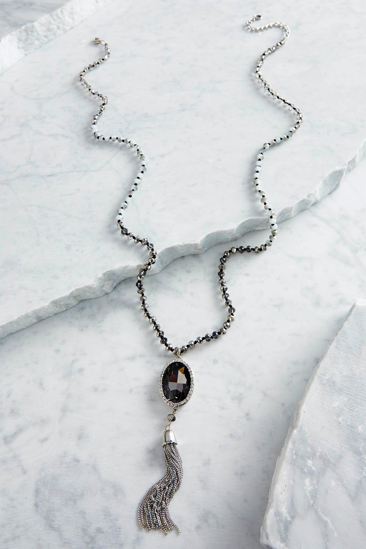 Stone Tassel Pendant Beaded Necklace