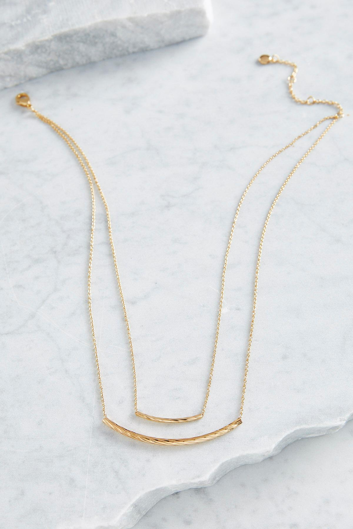 Double Curved Bar Brass Necklace