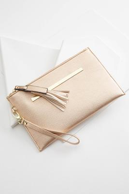 metal bar tasseled wristlet
