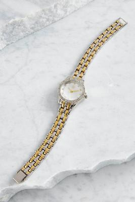 two-tone pave bordered link watch