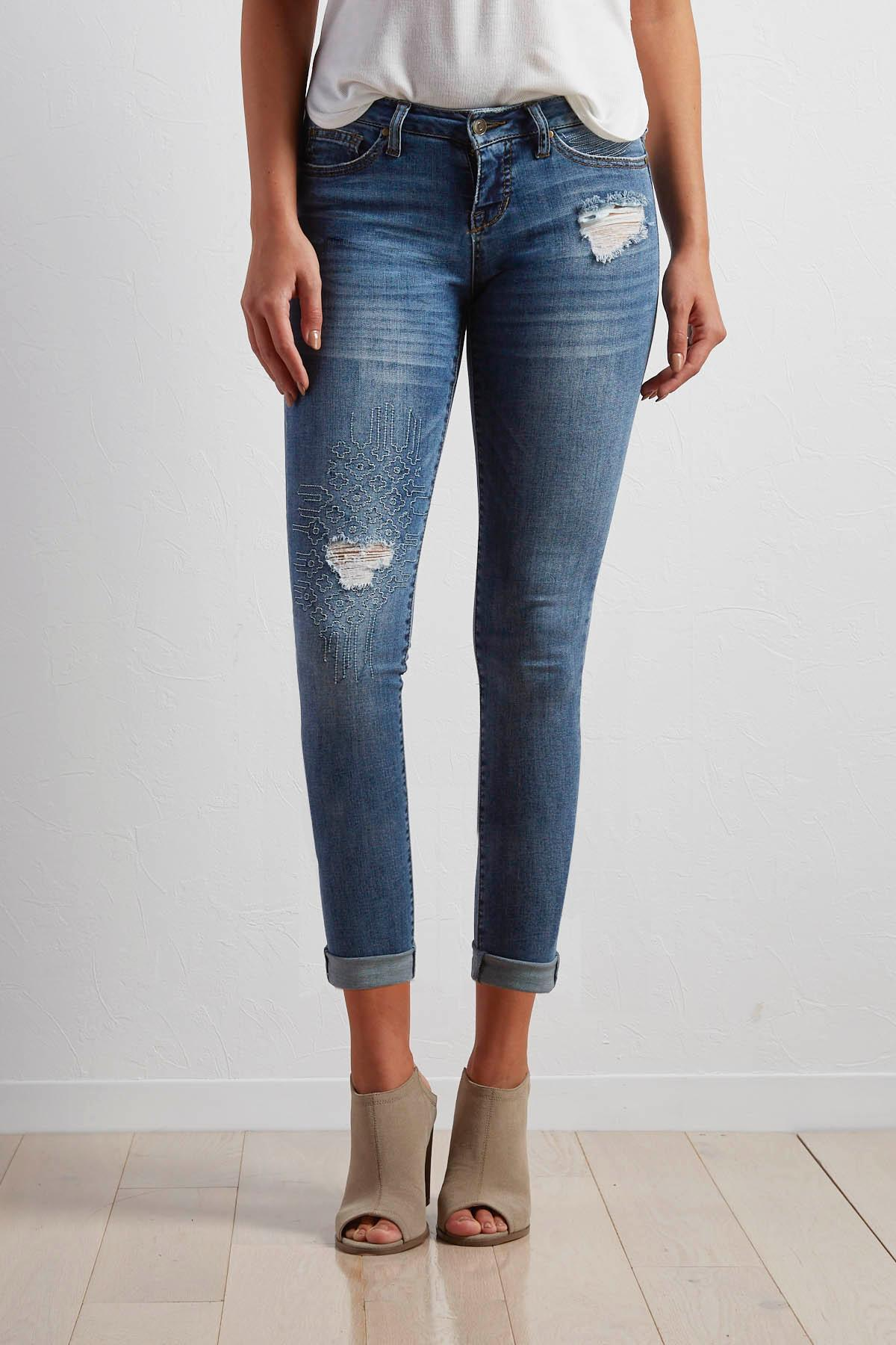 Embroidered Distressed Girlfriend Jeans