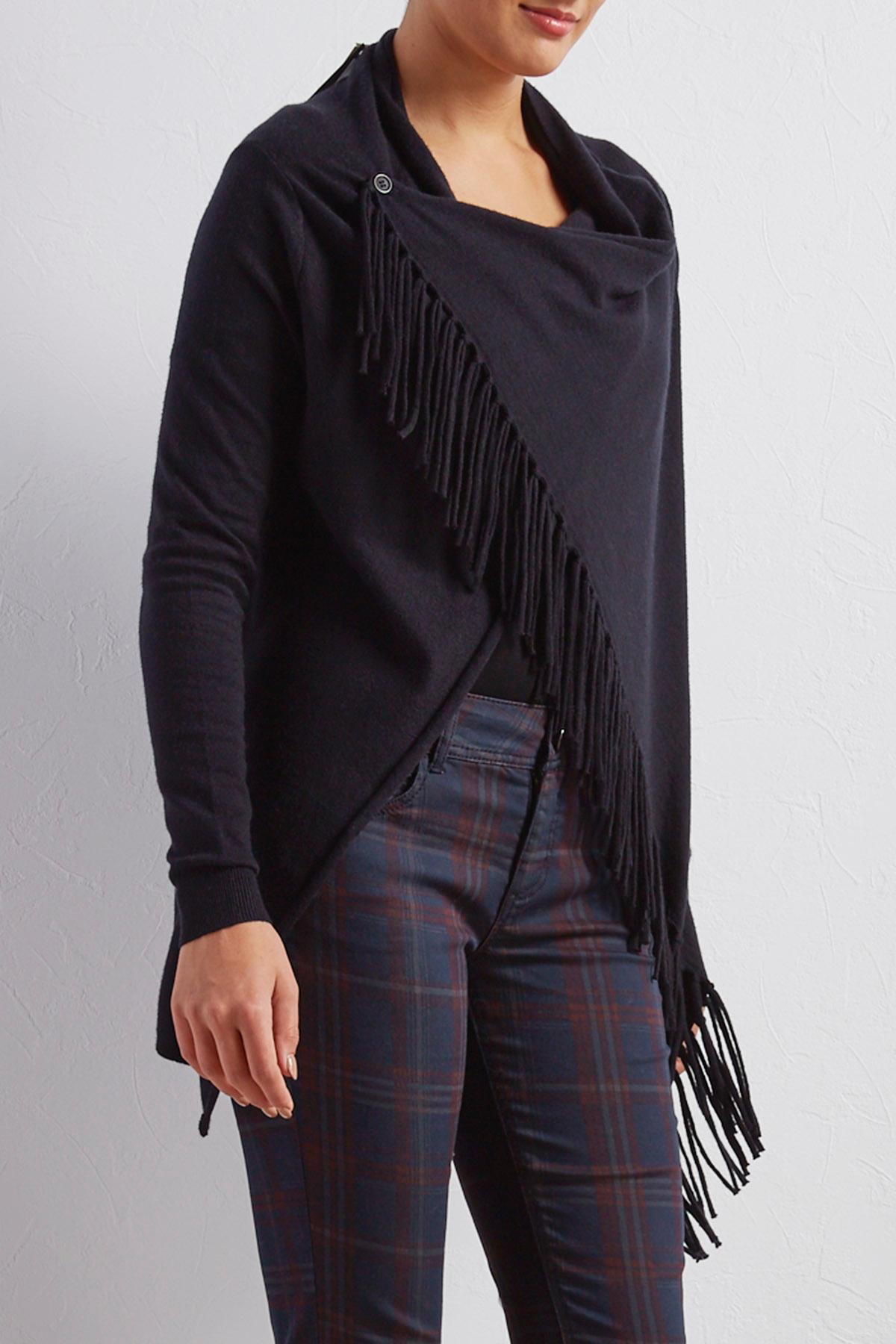 Draped Fringe Asymmetrical Cardigan