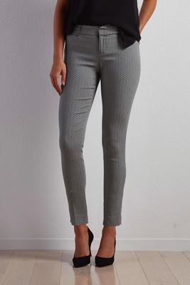 chevron jacquard slim leg ankle pants