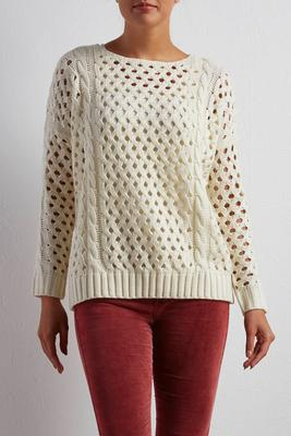 fishnet cable knit sweater