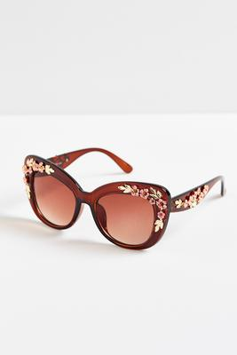 floral embellished cateye sunglasses