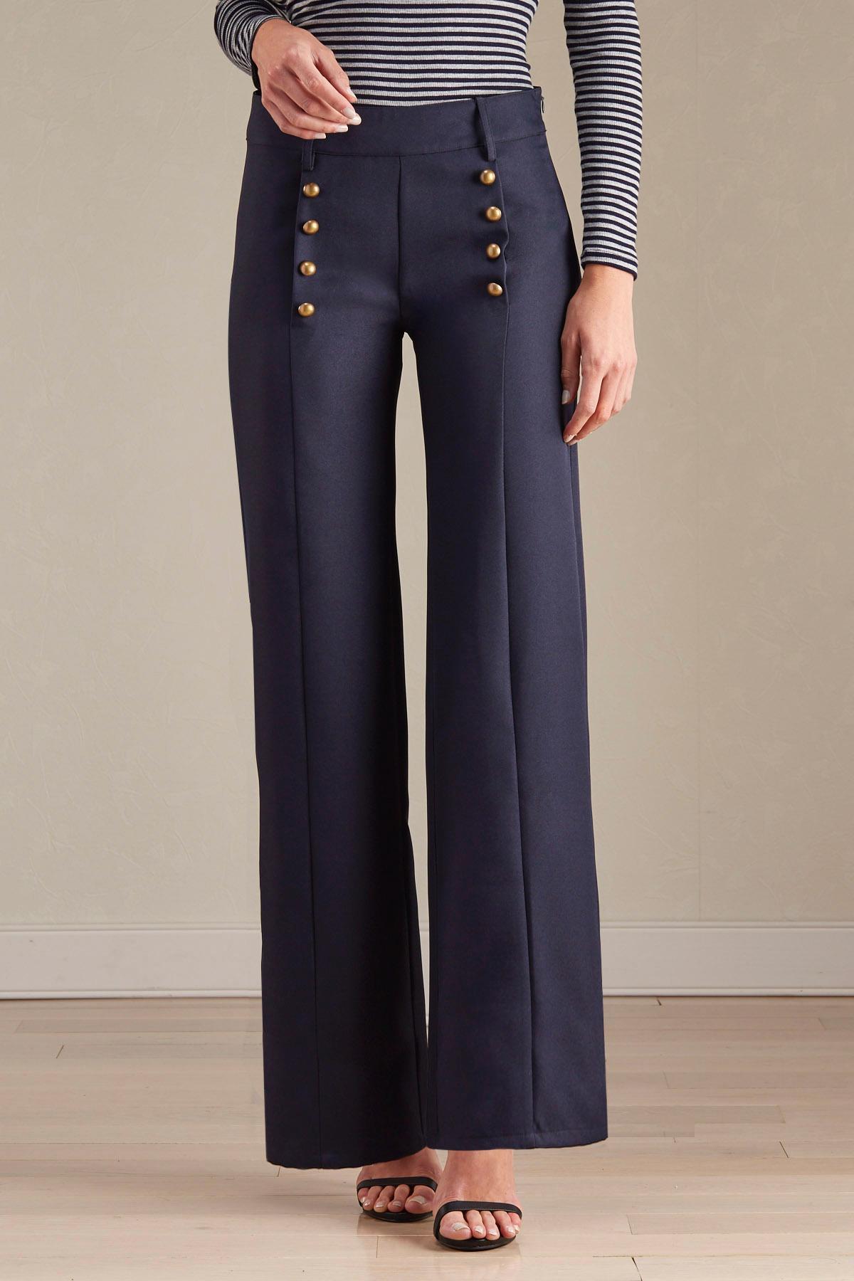Sailor Button Wide Leg Pants
