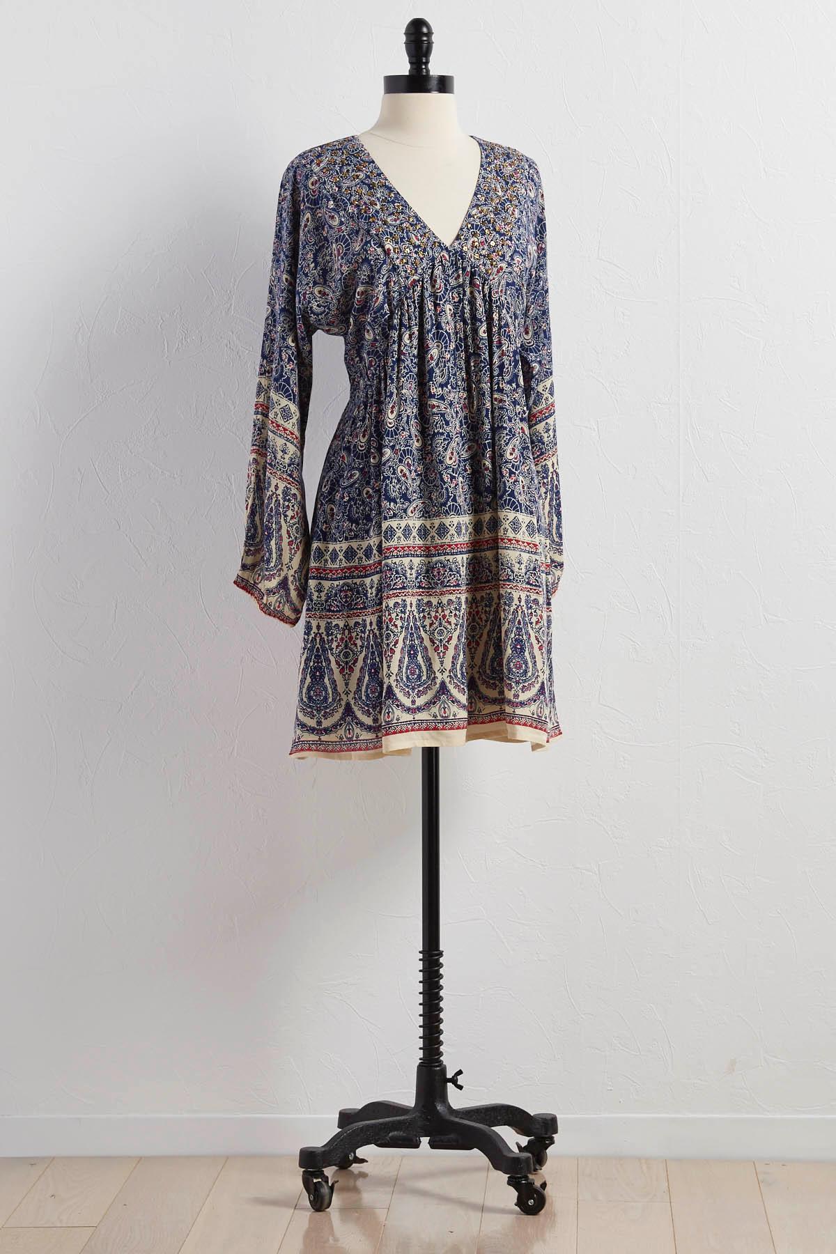 Sequin Paisley Babydoll Dress