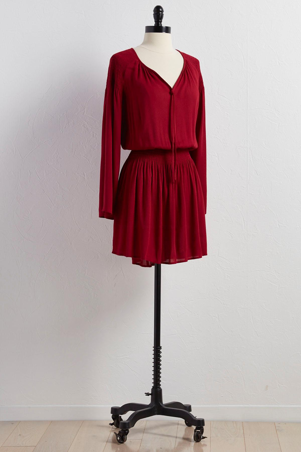 Smocked Tie Neck Blouson Dress