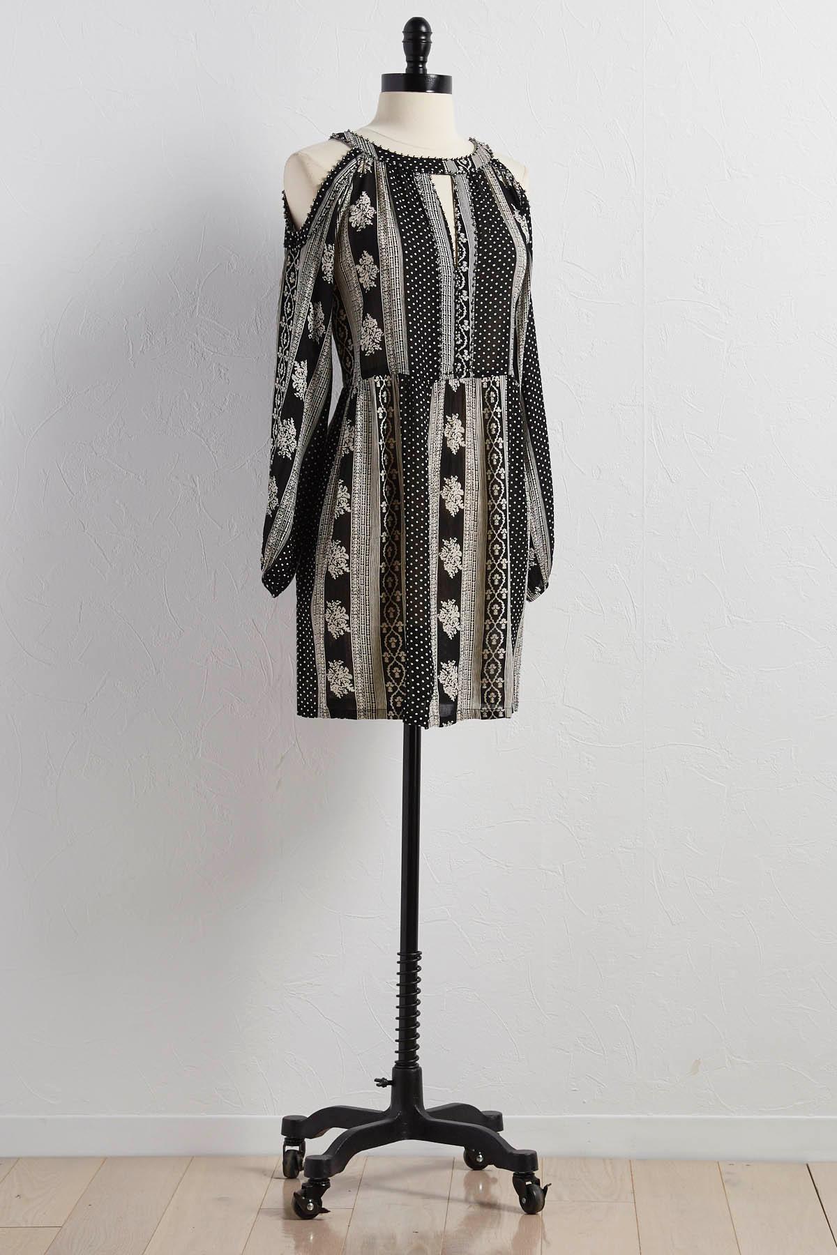 Striped Bare Shoulder Babydoll Dress