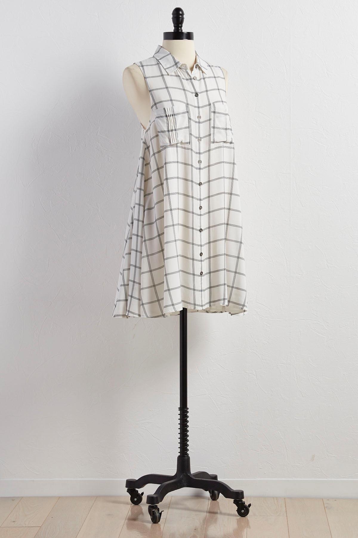 Windowpane Swing Shirt Dress