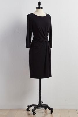 twist ruched side sheath dress
