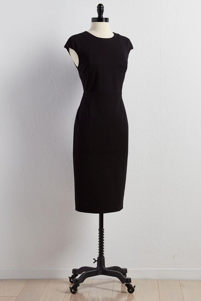 Cap Sleeve Ponte Knit Sheath Dress