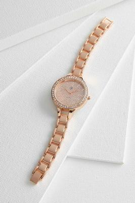 pave glitter link watch