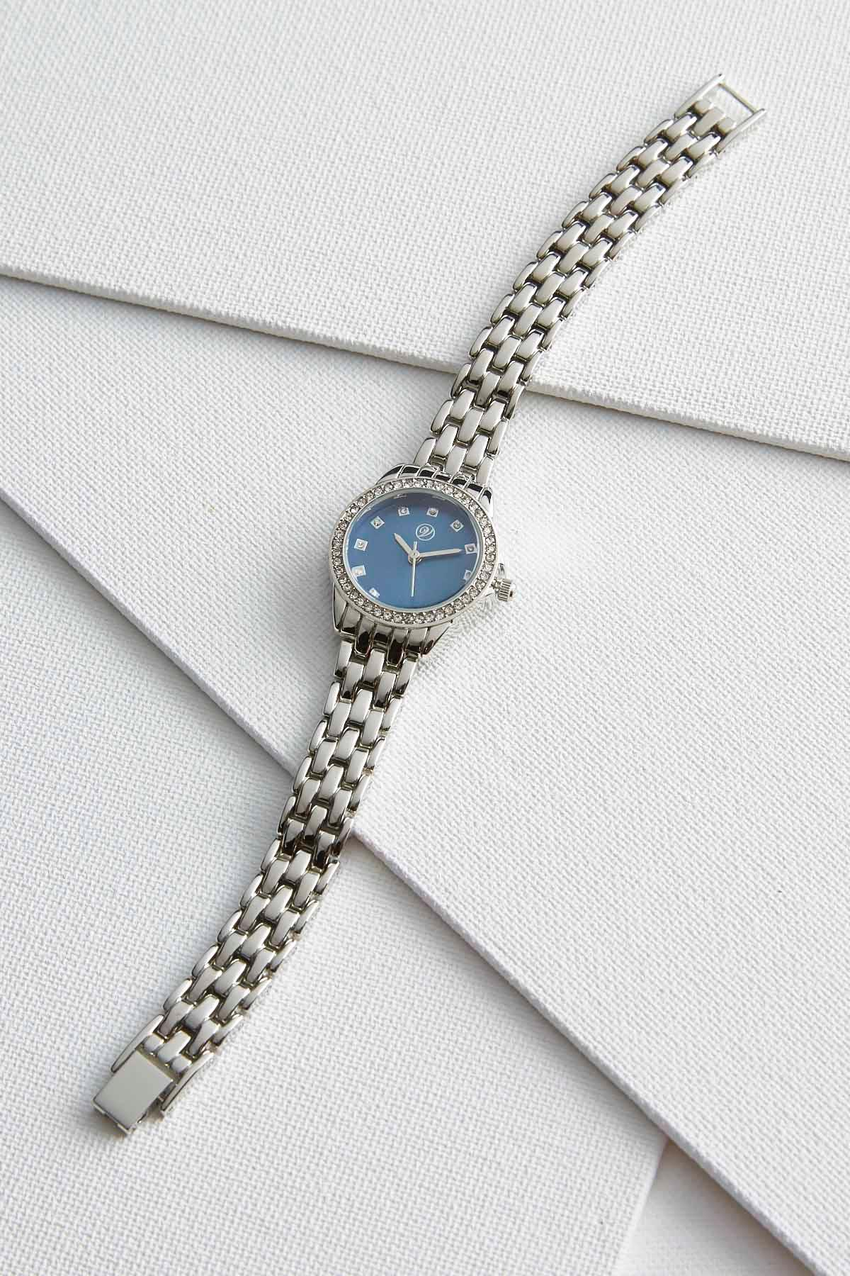 Pave Bordered Basket Weave Link Watch
