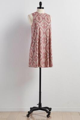 scroll faux suede swing dress