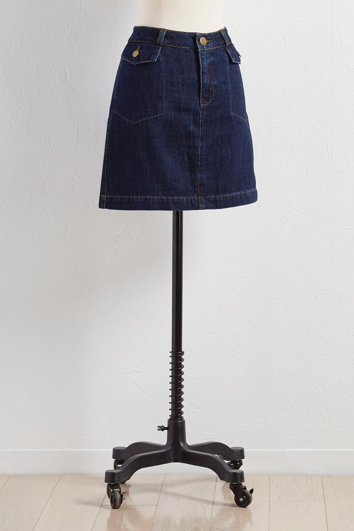 Flap Pocket Denim Skirt
