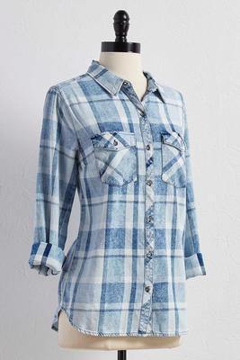 plaid denim button down shirt
