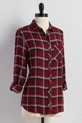 roll tab plaid button down shirt