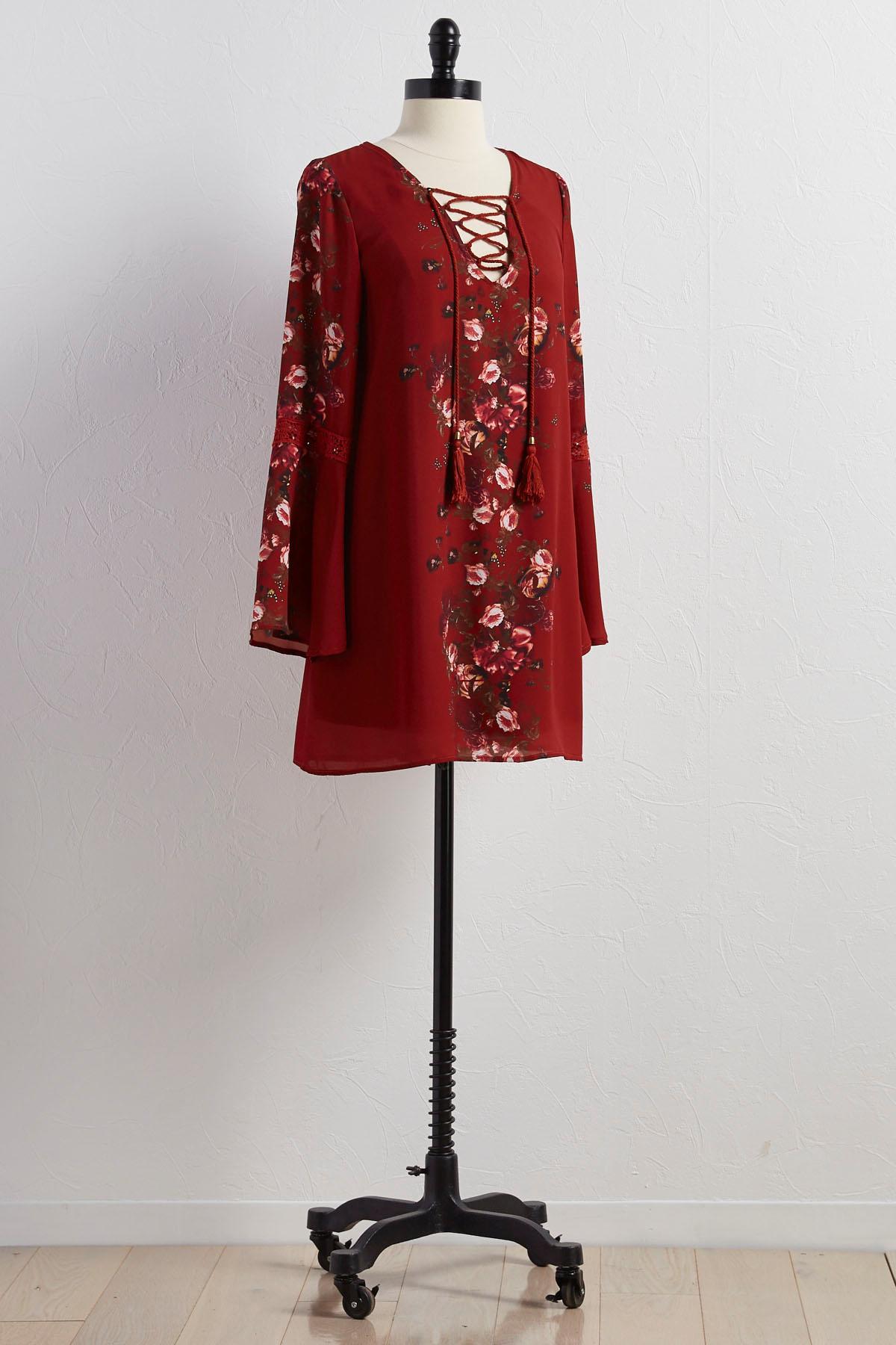 Floral Lace Up Neck Shift Dress