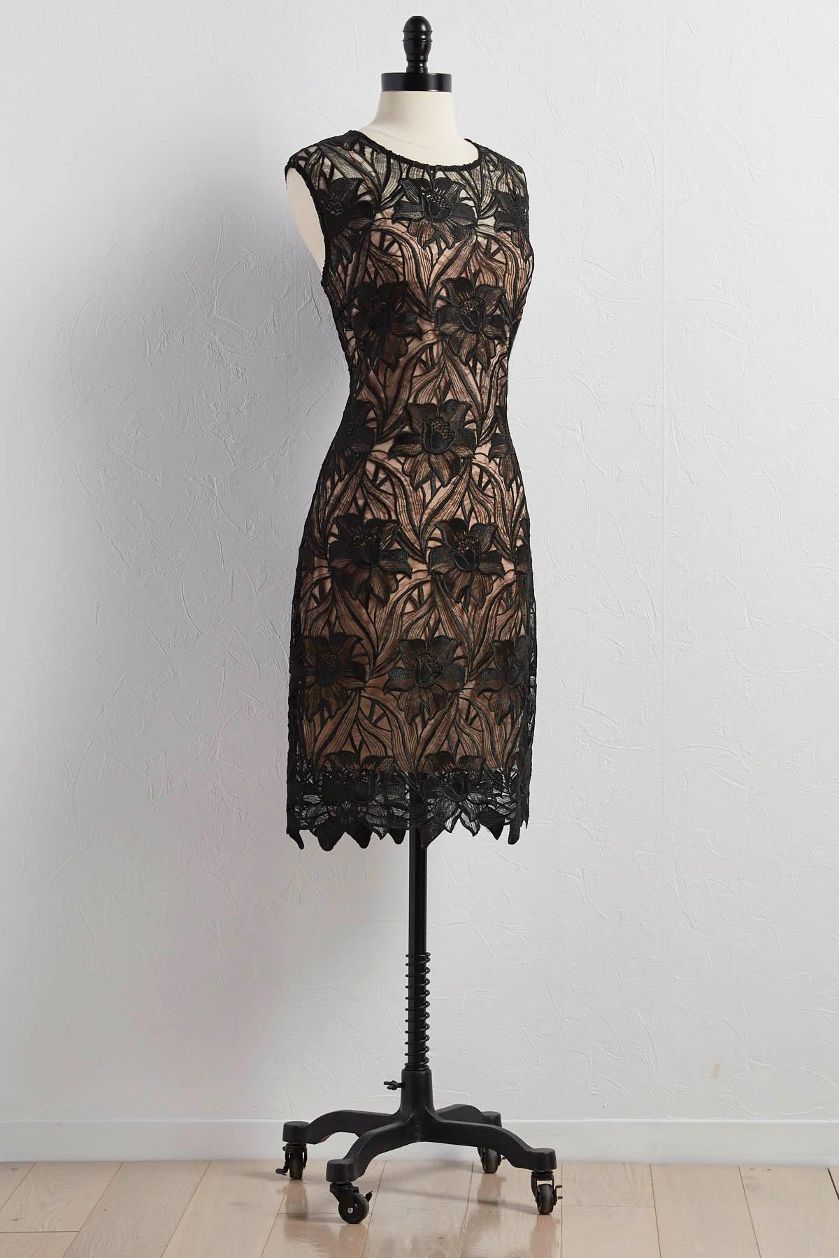 Hibiscus Lace Overlay Sheath Dress