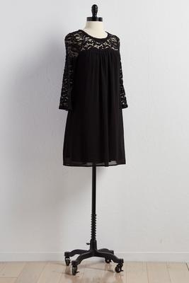 lace neck shift dress