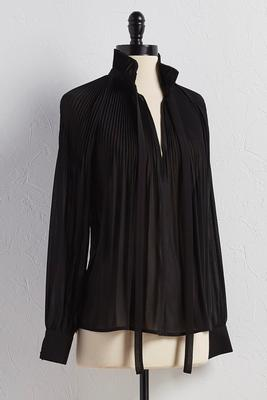 ruffled tie neck pleated top