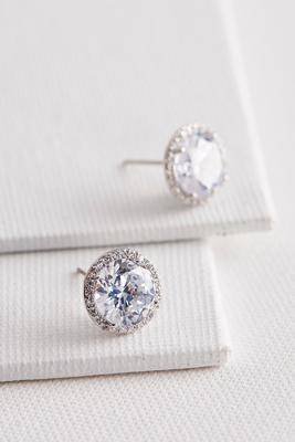 pave bordered cz stud earrings