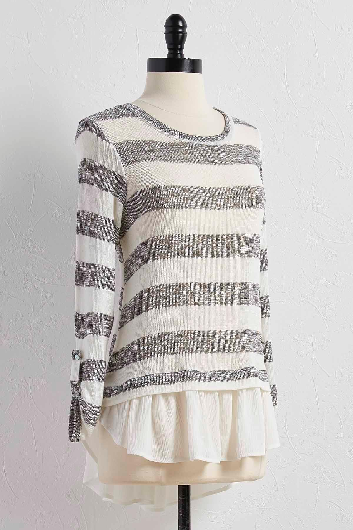 Gauze Hem Striped Knit Top