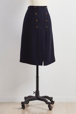sailor button pencil skirt
