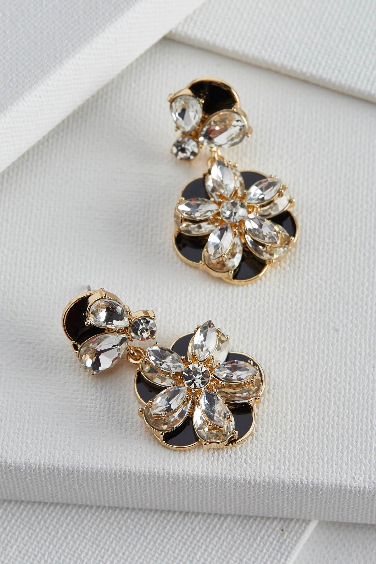 Flower Stone Dangle Earrings