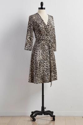belted leopard print faux wrap dress