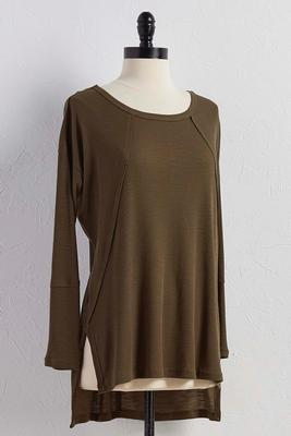 raw seamed ribbed tunic