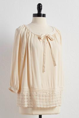 crochet trim tie neck poet top